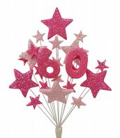 Number age 60th birthday cake topper decoration in shades of pink - free postage